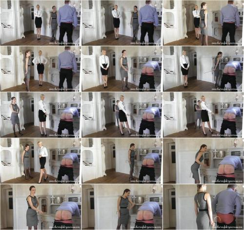Officer Kenworthy and miss Scarlot double punishment caning [FullHD 1080P]